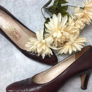 Vintage Ferragamo Red Brown Heels